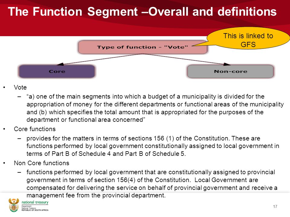17 The Function Segment –Overall and definitions Vote – a) one of the main segments into which a budget of a municipality is divided for the appropriation of money for the different departments or functional areas of the municipality and (b) which specifies the total amount that is appropriated for the purposes of the department or functional area concerned Core functions –provides for the matters in terms of sections 156 (1) of the Constitution.