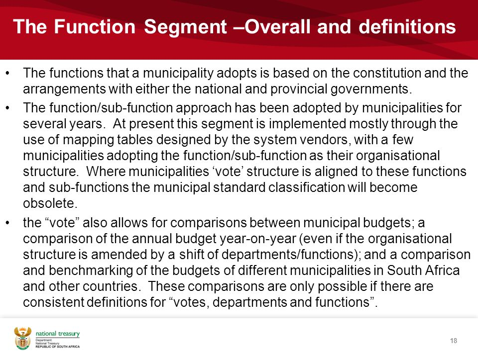 The functions that a municipality adopts is based on the constitution and the arrangements with either the national and provincial governments.