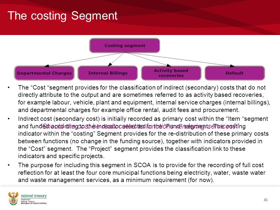The costing Segment The Cost segment provides for the classification of indirect (secondary) costs that do not directly attribute to the output and are sometimes referred to as activity based recoveries, for example labour, vehicle, plant and equipment, internal service charges (internal billings), and departmental charges for example office rental, audit fees and procurement.