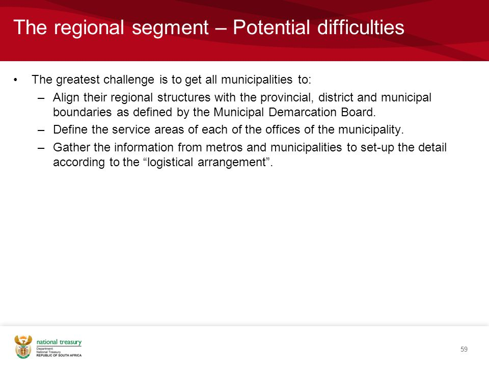 The greatest challenge is to get all municipalities to: –Align their regional structures with the provincial, district and municipal boundaries as defined by the Municipal Demarcation Board.