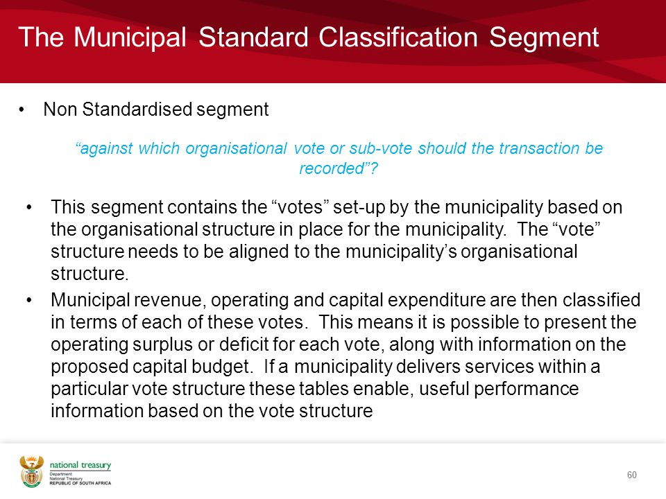 The Municipal Standard Classification Segment Non Standardised segment 60 against which organisational vote or sub-vote should the transaction be recorded .
