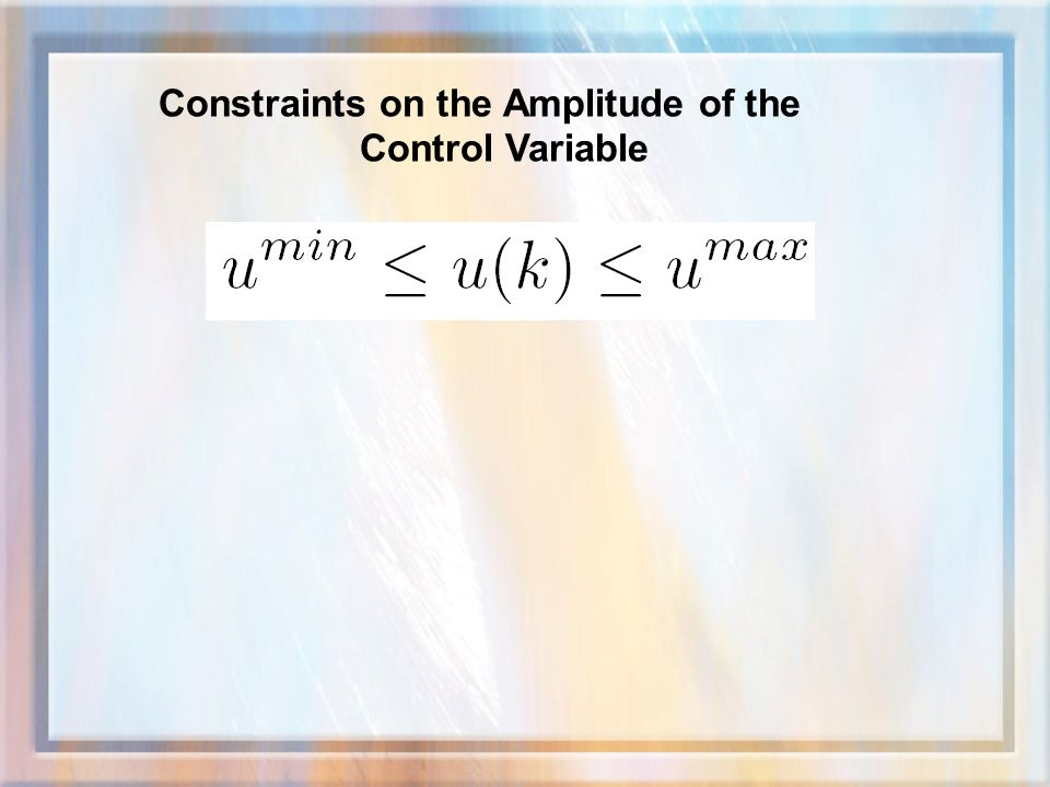 Constraints on the Amplitude of the Control Variable