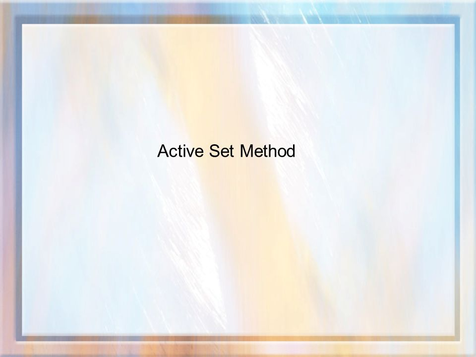 Active Set Method