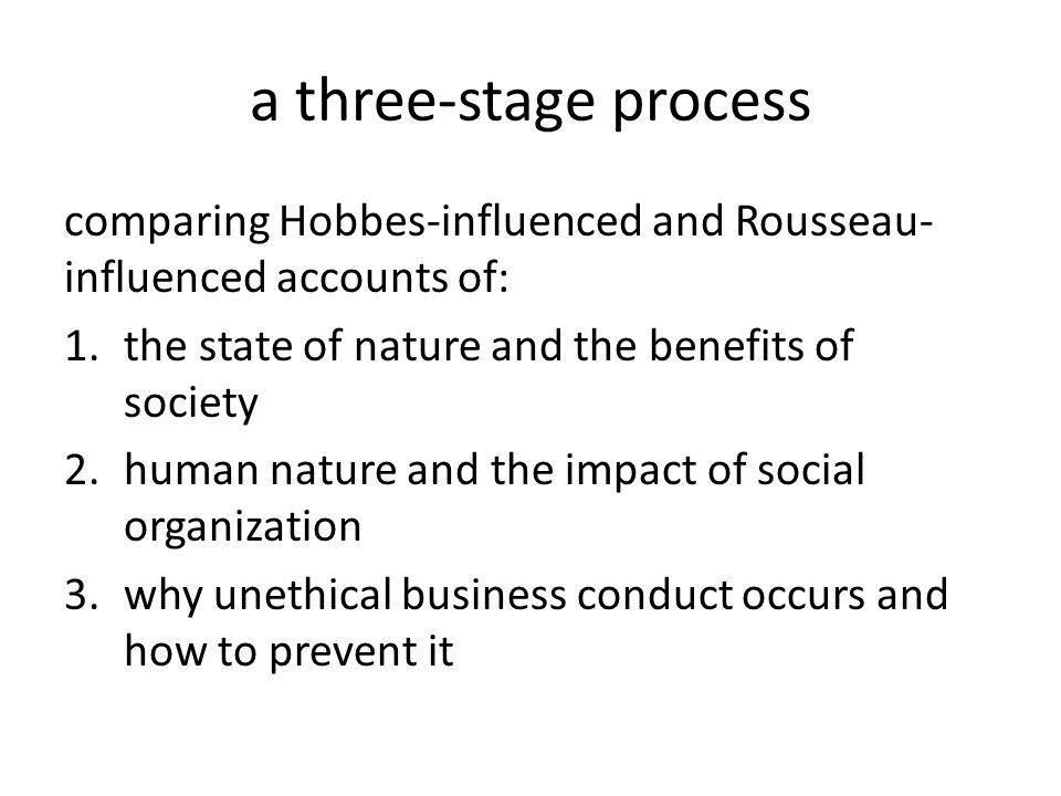 a three-stage process comparing Hobbes-influenced and Rousseau- influenced accounts of: 1.the state of nature and the benefits of society 2.human nature and the impact of social organization 3.why unethical business conduct occurs and how to prevent it