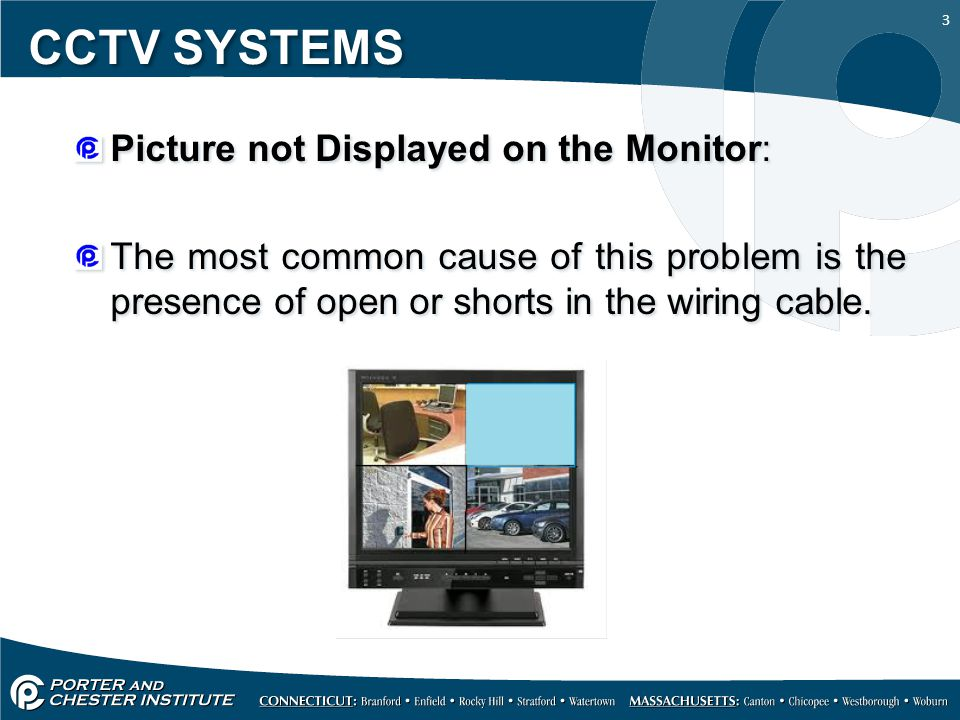 3 CCTV SYSTEMS Picture not Displayed on the Monitor: The most common cause of this problem is the presence of open or shorts in the wiring cable. Pict