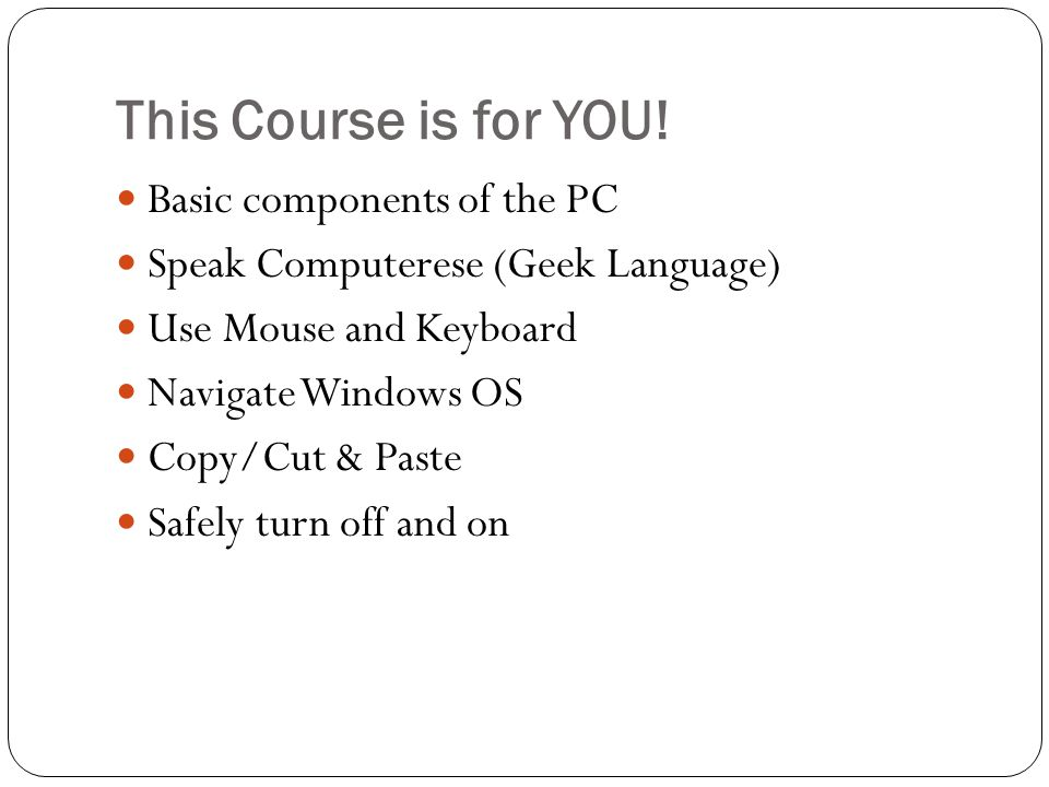 This Course is for YOU.