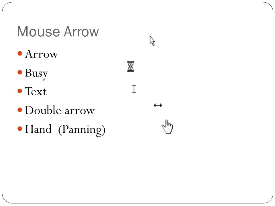 Mouse Arrow Arrow Busy Text Double arrow Hand (Panning)