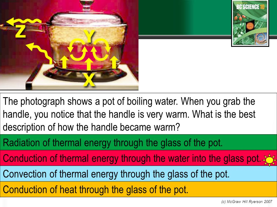 The photograph shows a pot of boiling water.