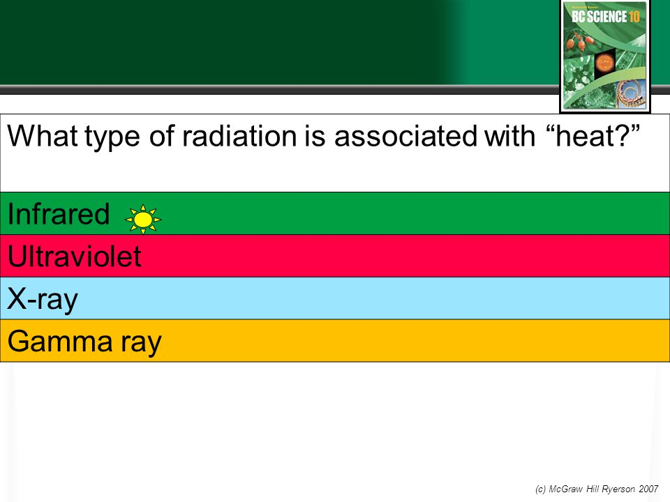 What type of radiation is associated with heat Infrared Ultraviolet X-ray Gamma ray (c) McGraw Hill Ryerson 2007
