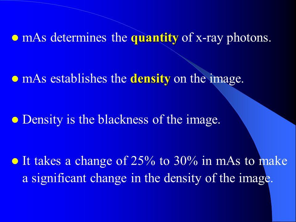 quantity mAs determines the quantity of x-ray photons.