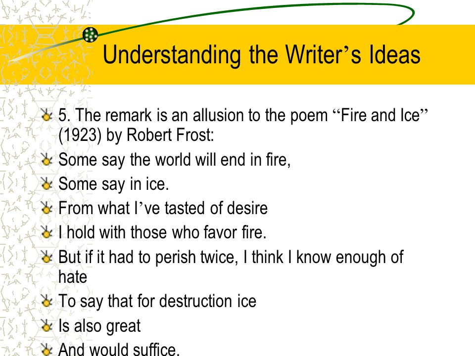 Understanding the Writer ' s Ideas 5.