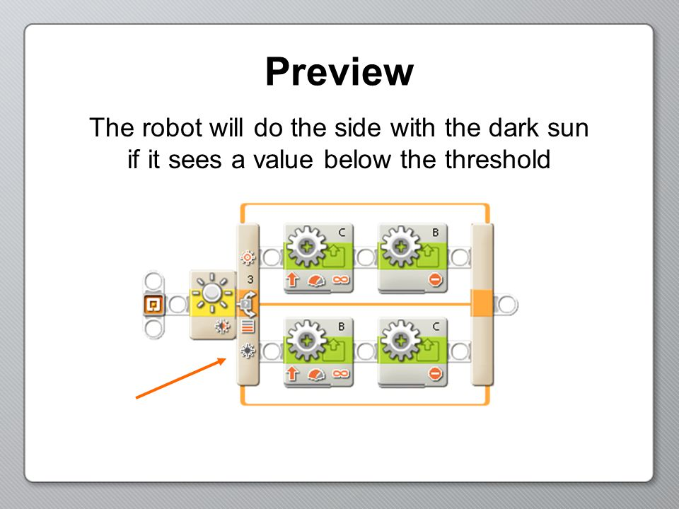 Preview The robot will do the side with the dark sun if it sees a value below the threshold