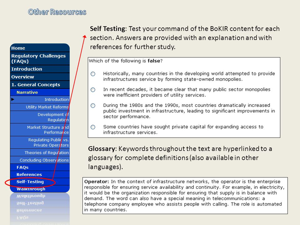 Self Testing: Test your command of the BoKIR content for each section.