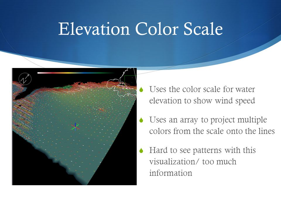 Elevation Color Scale  Uses the color scale for water elevation to show wind speed  Uses an array to project multiple colors from the scale onto the lines  Hard to see patterns with this visualization/ too much information
