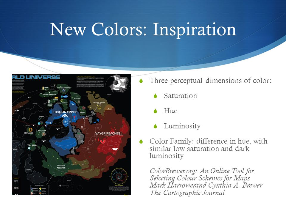 New Colors: Inspiration  Three perceptual dimensions of color:  Saturation  Hue  Luminosity  Color Family: difference in hue, with similar low sa