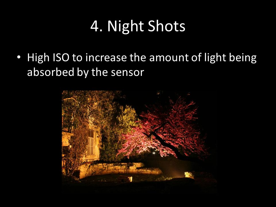 4. Night Shots High ISO to increase the amount of light being absorbed by the sensor