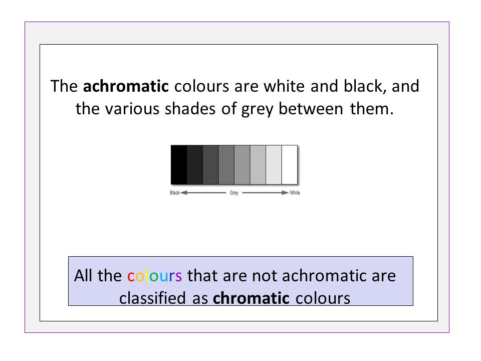 The achromatic colours are white and black, and the various shades of grey between them. All the colours that are not achromatic are classified as chr