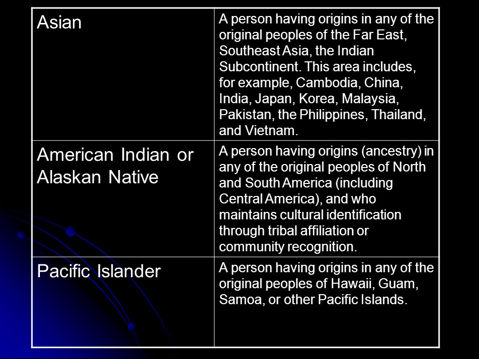 Asian A person having origins in any of the original peoples of the Far East, Southeast Asia, the Indian Subcontinent.