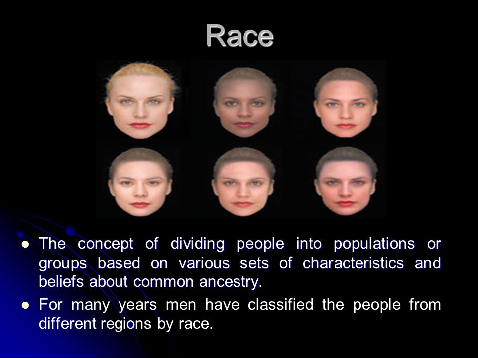 Race The concept of dividing people into populations or groups based on various sets of characteristics and beliefs about common ancestry.