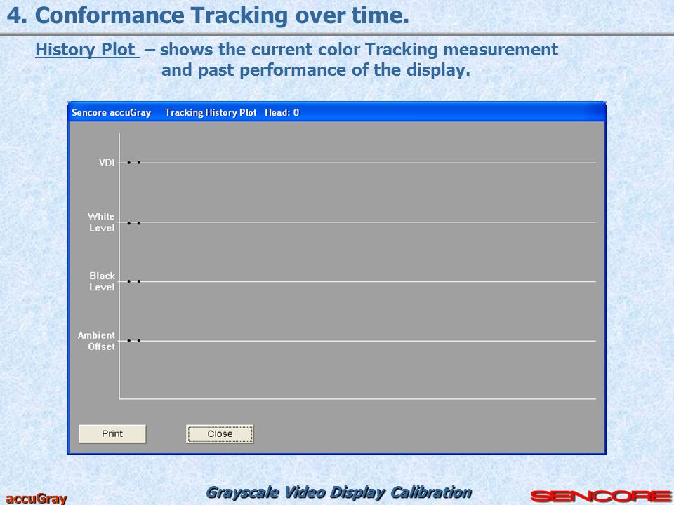 Grayscale Video Display Calibration accuGray 4. Conformance Tracking over time. History Plot – shows the current color Tracking measurement and past p