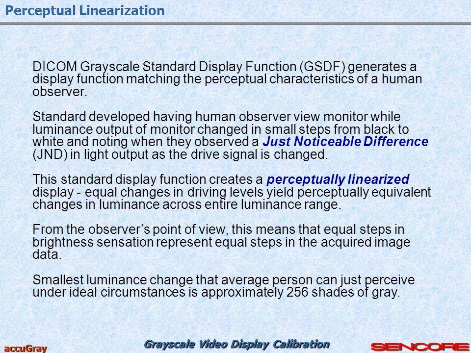 Grayscale Video Display Calibration accuGray Perceptual Linearization DICOM Grayscale Standard Display Function (GSDF) generates a display function ma