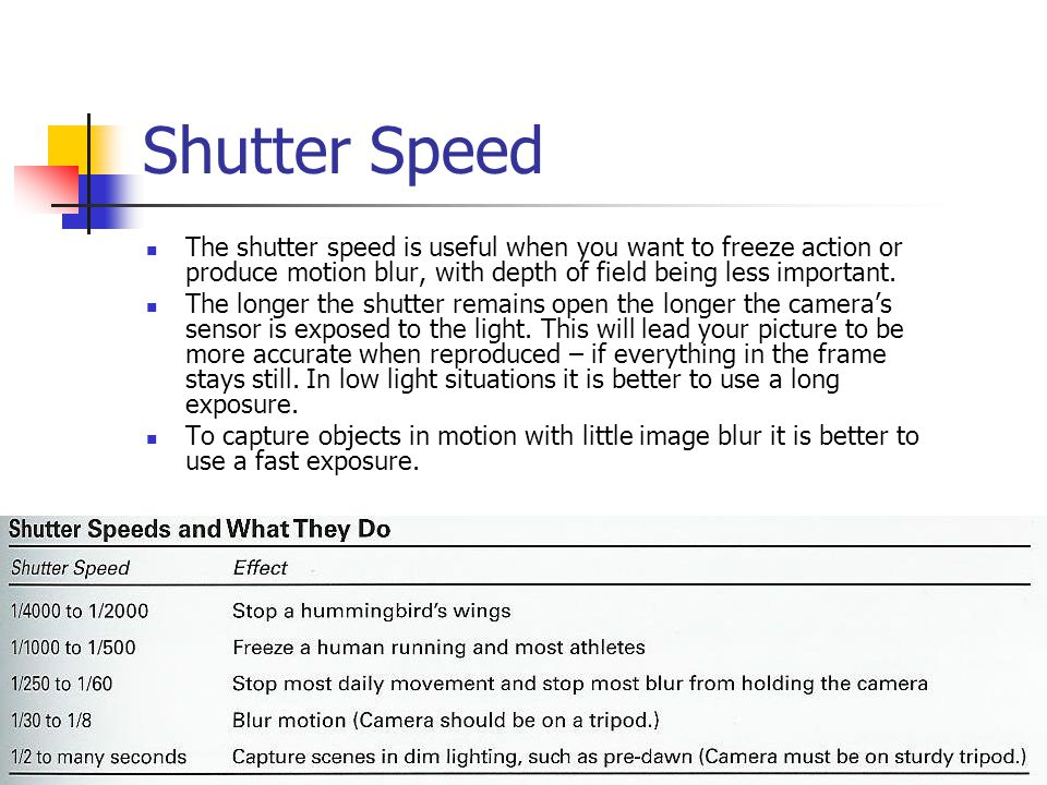 Shutter Speed The shutter speed is useful when you want to freeze action or produce motion blur, with depth of field being less important.