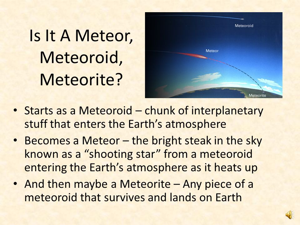 Is It A Meteor, Meteoroid, Meteorite.