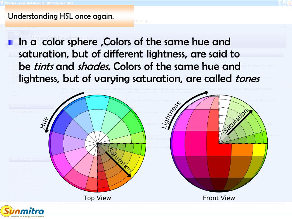 Understanding HSL once again. In a color sphere,Colors of the same hue and saturation, but of different lightness, are said to be tints and shades. Co