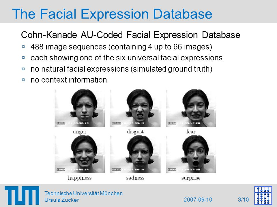 2007-09-10 3/10 Technische Universität München Ursula Zucker The Facial Expression Database Cohn-Kanade AU-Coded Facial Expression Database  488 image sequences (containing 4 up to 66 images)  each showing one of the six universal facial expressions  no natural facial expressions (simulated ground truth)  no context information