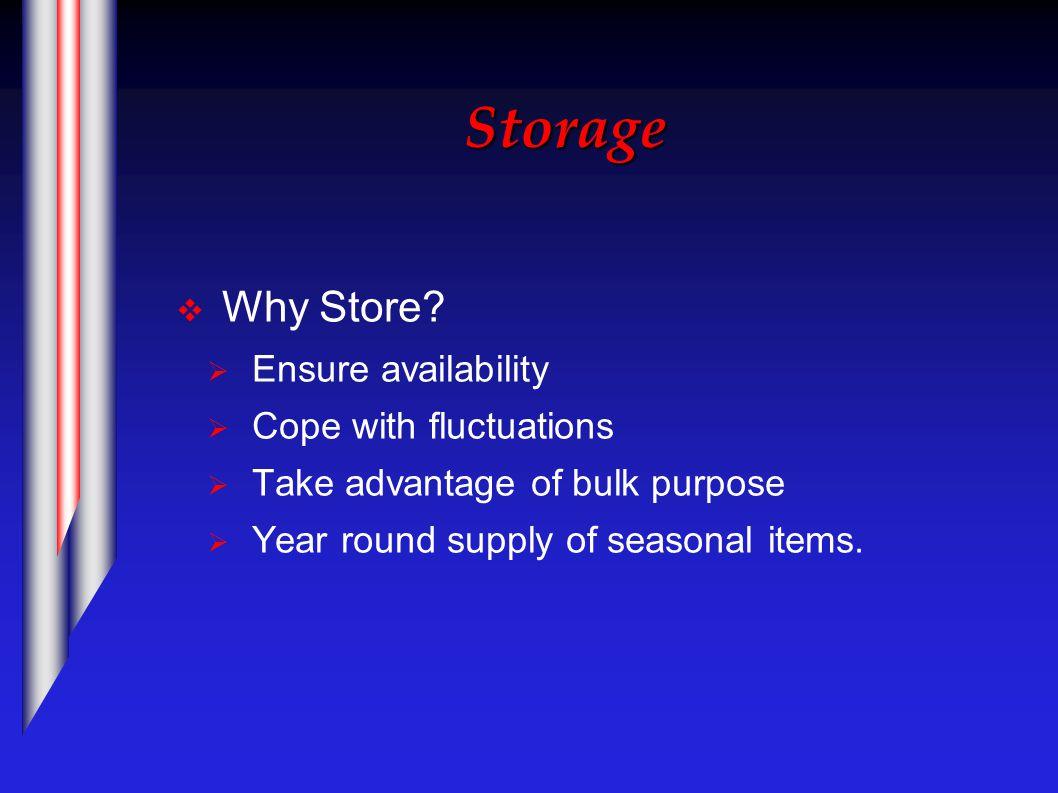 Storage  Why Store.