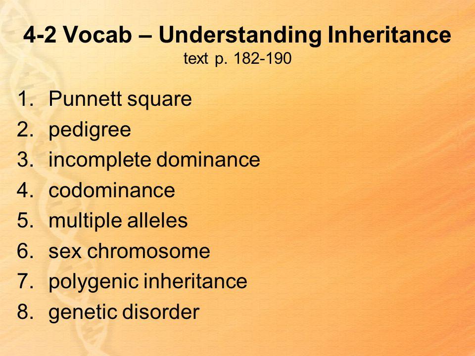 4-2 Vocab – Understanding Inheritance text p.