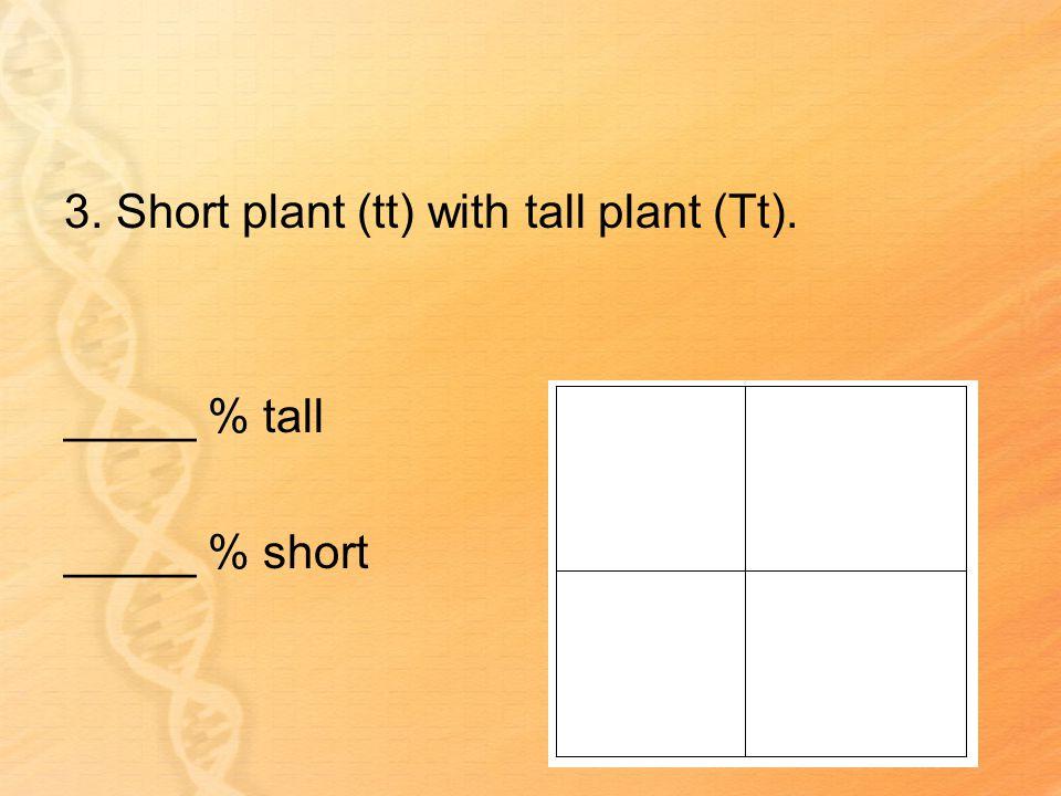 3. Short plant (tt) with tall plant (Tt). _____ % tall _____ % short