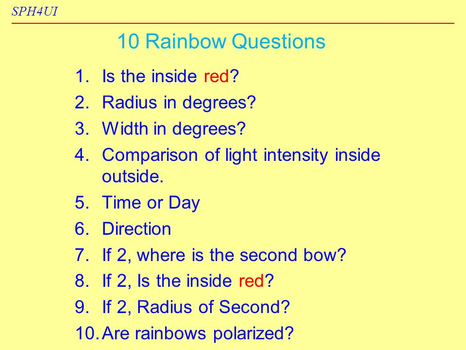 SPH4UI 10 Rainbow Questions 1. 1.Is the inside red.