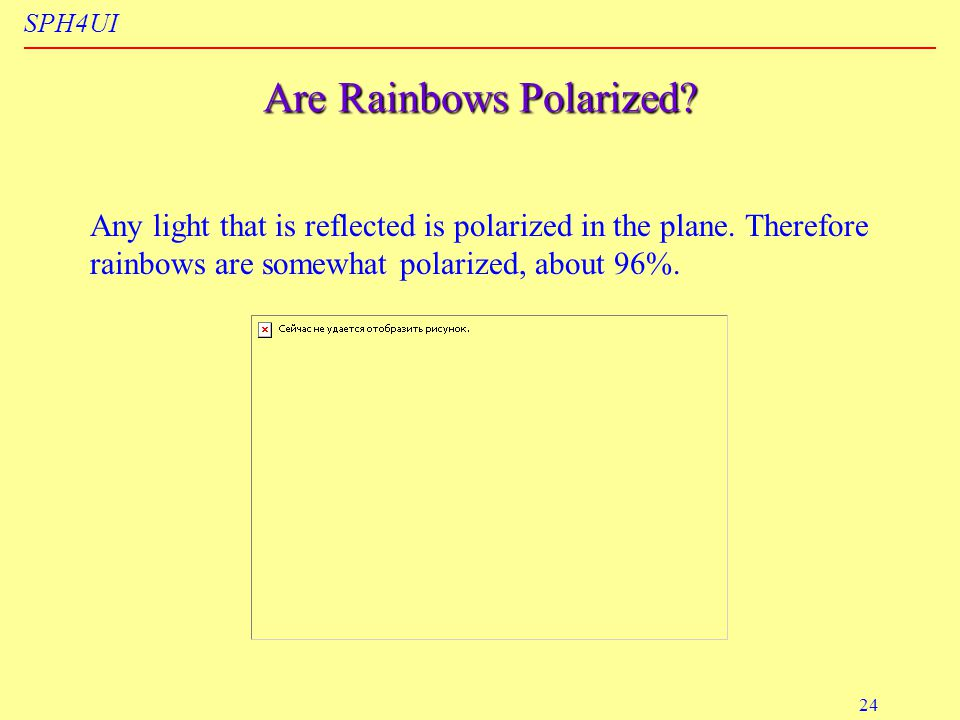 SPH4UI 24 Are Rainbows Polarized. Any light that is reflected is polarized in the plane.