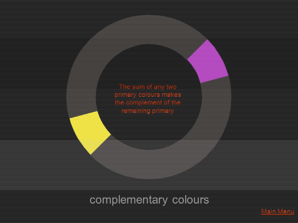 complementary colours The sum of any two primary colours makes the complement of the remaining primary Main Menu