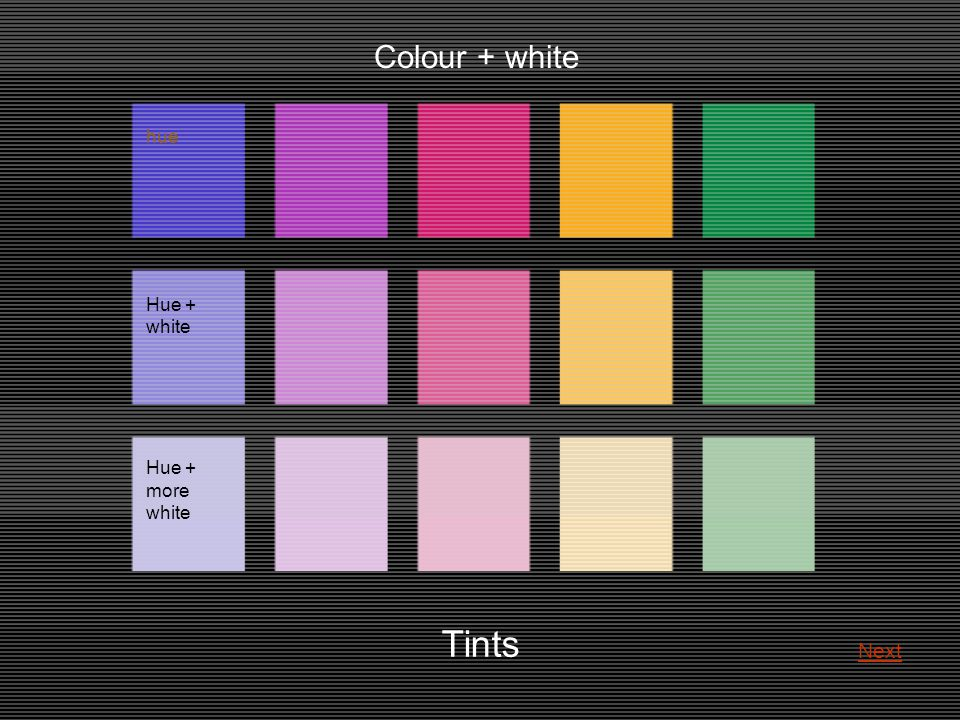 Tints Colour + white hue Hue + white Hue + more white Next