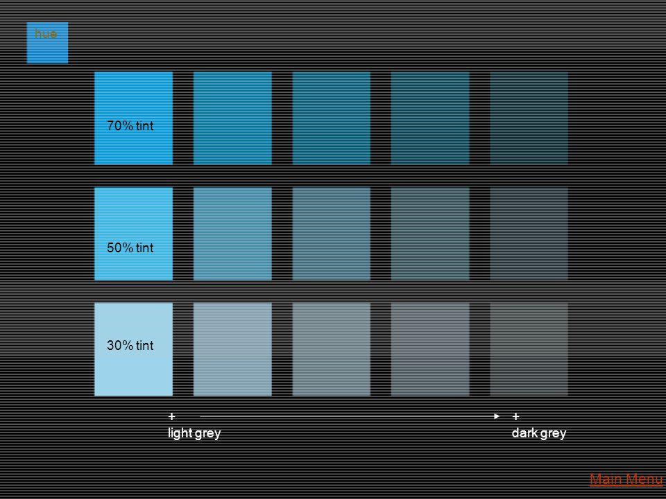 hue 70% tint 50% tint 30% tint + light grey + dark grey Main Menu