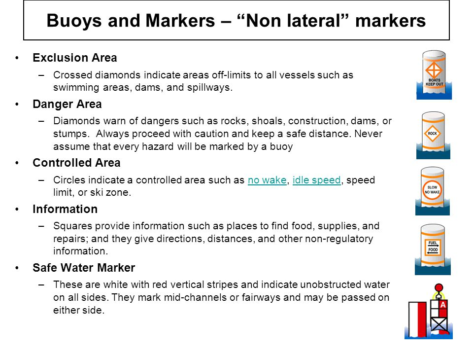 "Buoys and Markers – ""Non lateral"" markers Exclusion Area –Crossed diamonds indicate areas off-limits to all vessels such as swimming areas, dams, and"
