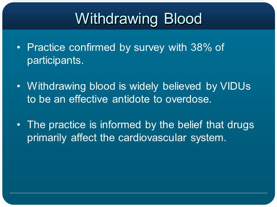 Withdrawing Blood Practice confirmed by survey with 38% of participants. Withdrawing blood is widely believed by VIDUs to be an effective antidote to