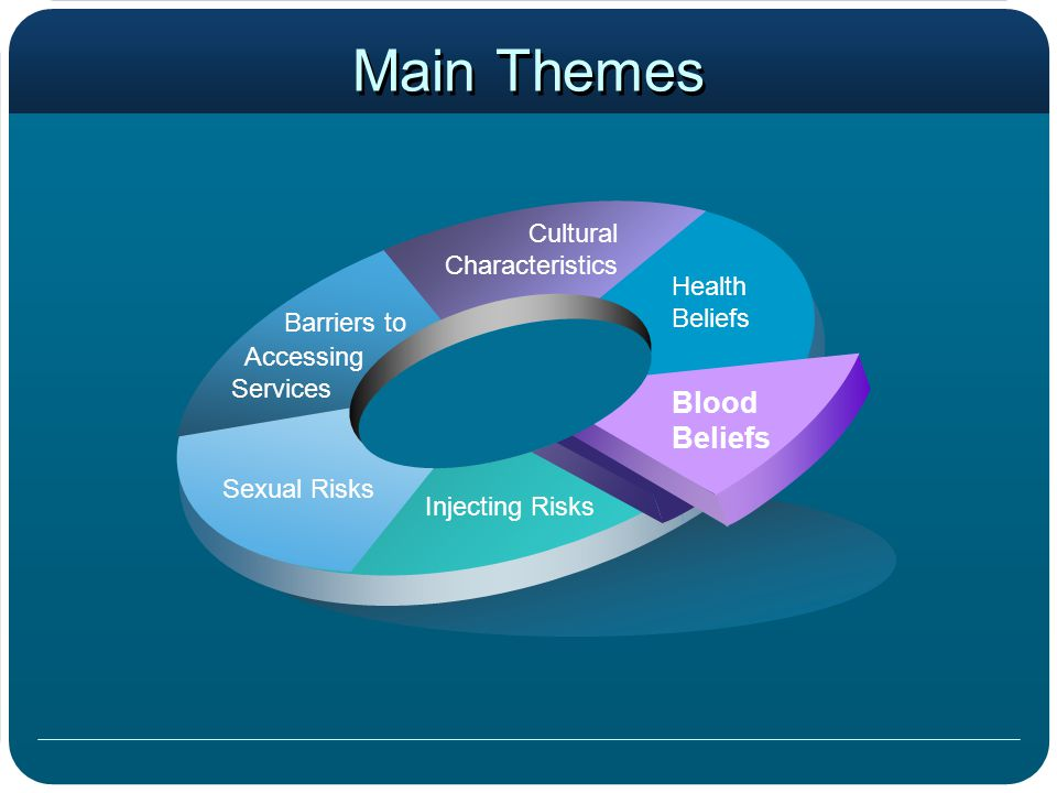 Main Themes Health Beliefs Cultural Characteristics Accessing Services Sexual Risks Injecting Risks Blood Beliefs Barriers to