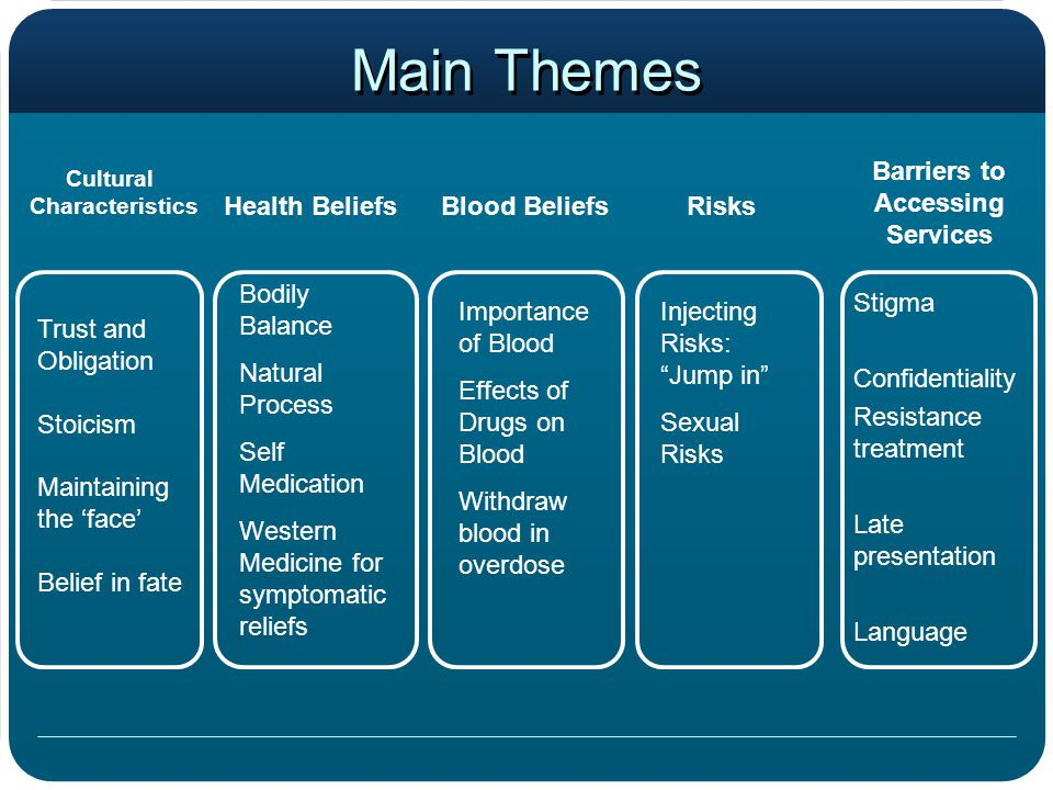 Main Themes Cultural Characteristics Risks Trust and Obligation Stoicism Maintaining the 'face' Belief in fate Blood BeliefsHealth Beliefs Barriers to Accessing Services Bodily Balance Natural Process Self Medication Western Medicine for symptomatic reliefs Importance of Blood Effects of Drugs on Blood Withdraw blood in overdose Injecting Risks: Jump in Sexual Risks Stigma Confidentiality Resistance treatment Late presentation Language