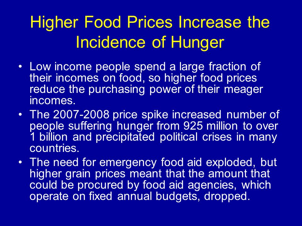 Higher Food Prices Increase the Incidence of Hunger Low income people spend a large fraction of their incomes on food, so higher food prices reduce the purchasing power of their meager incomes.