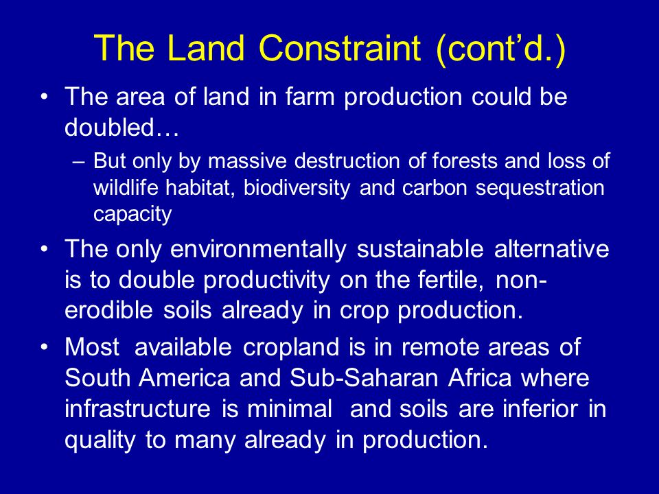 The Land Constraint (cont'd.) The area of land in farm production could be doubled… –But only by massive destruction of forests and loss of wildlife habitat, biodiversity and carbon sequestration capacity The only environmentally sustainable alternative is to double productivity on the fertile, non- erodible soils already in crop production.