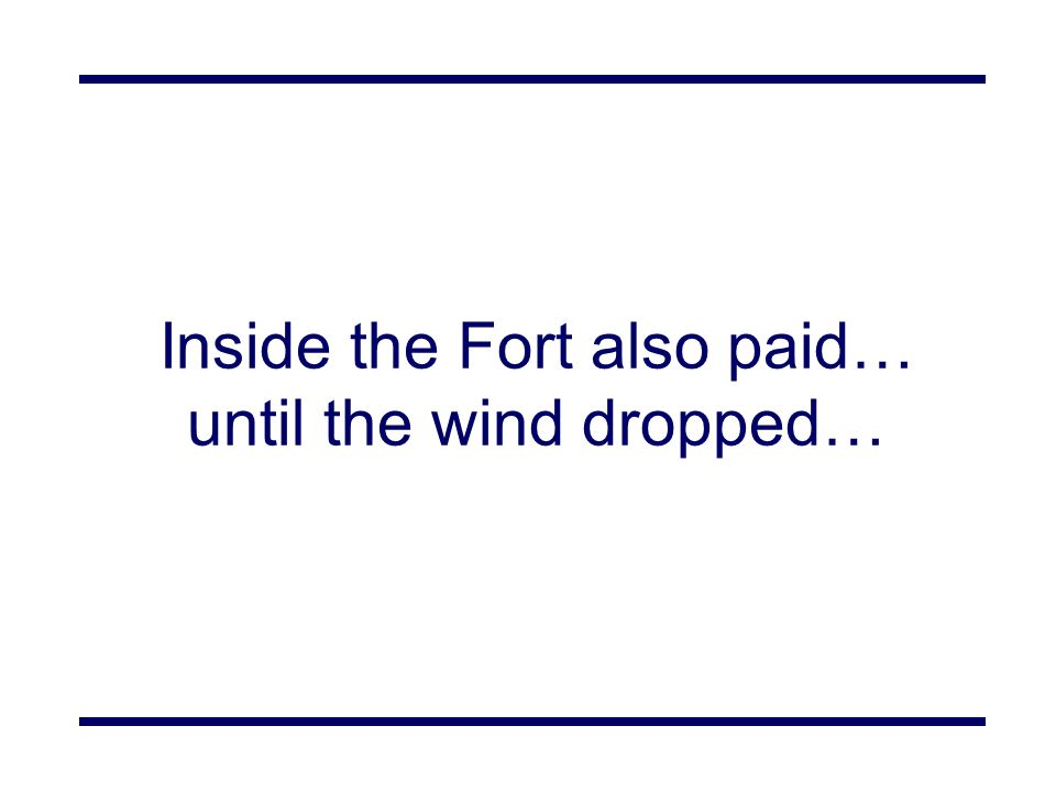 Inside the Fort also paid… until the wind dropped…