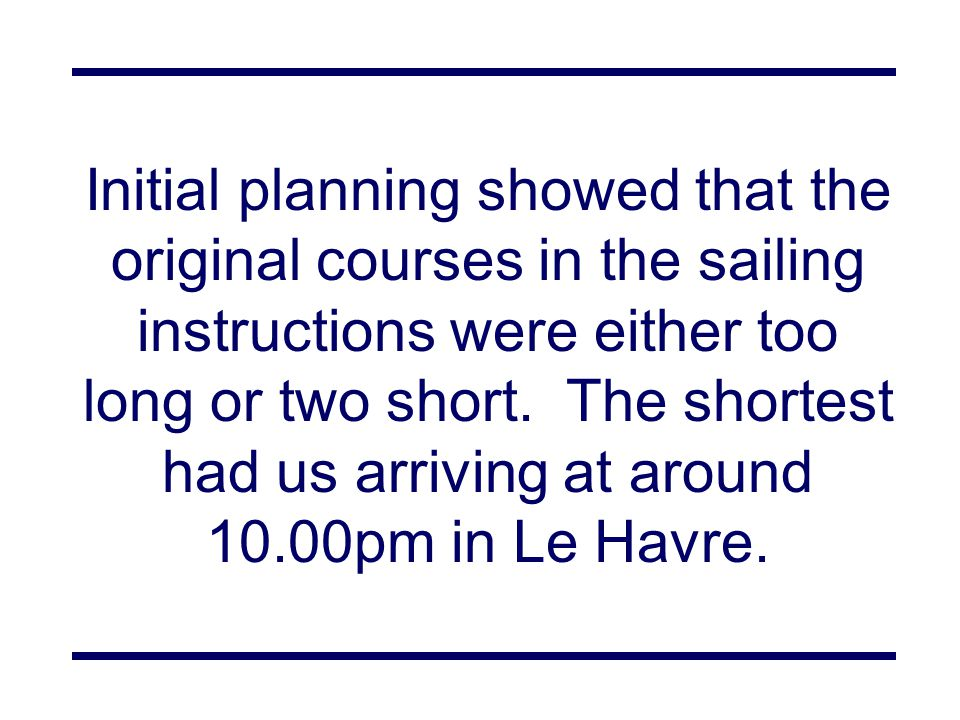 Initial planning showed that the original courses in the sailing instructions were either too long or two short.