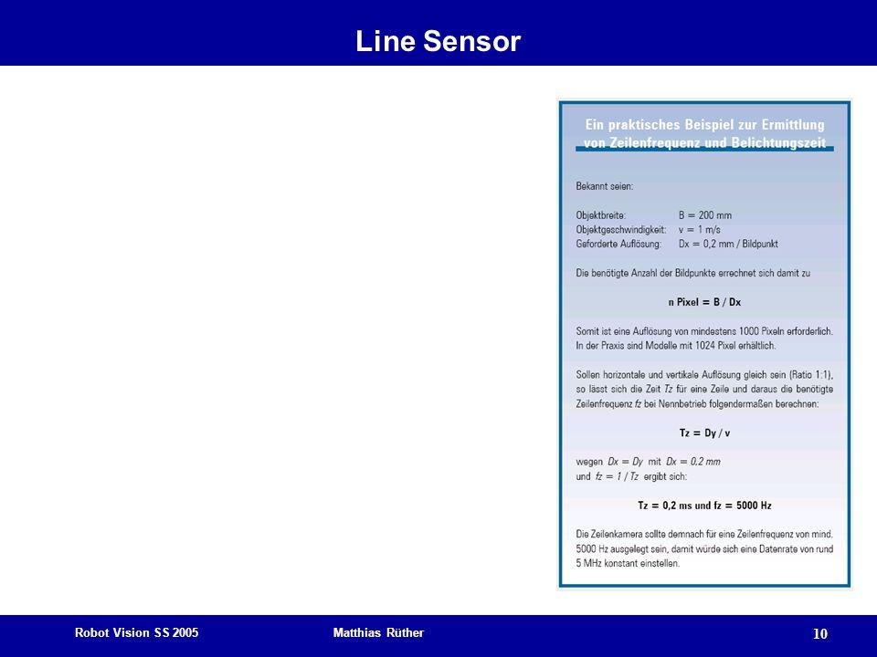 Robot Vision SS 2005 Matthias Rüther 10 Line Sensor
