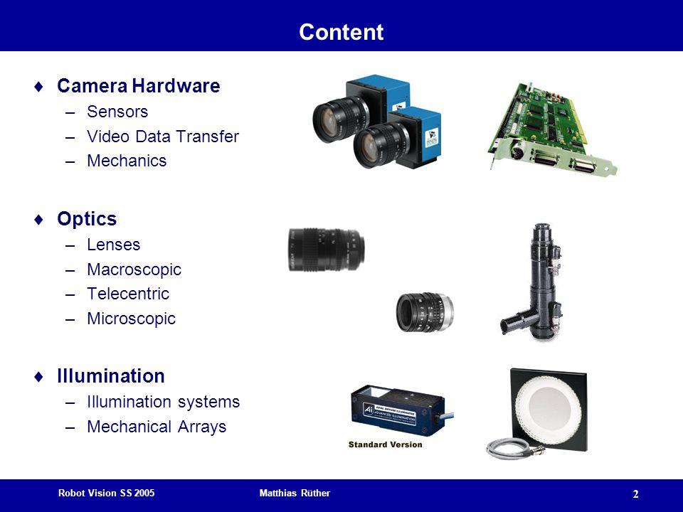 Robot Vision SS 2005 Matthias Rüther 2 Content  Camera Hardware –Sensors –Video Data Transfer –Mechanics  Optics –Lenses –Macroscopic –Telecentric –Microscopic  Illumination –Illumination systems –Mechanical Arrays