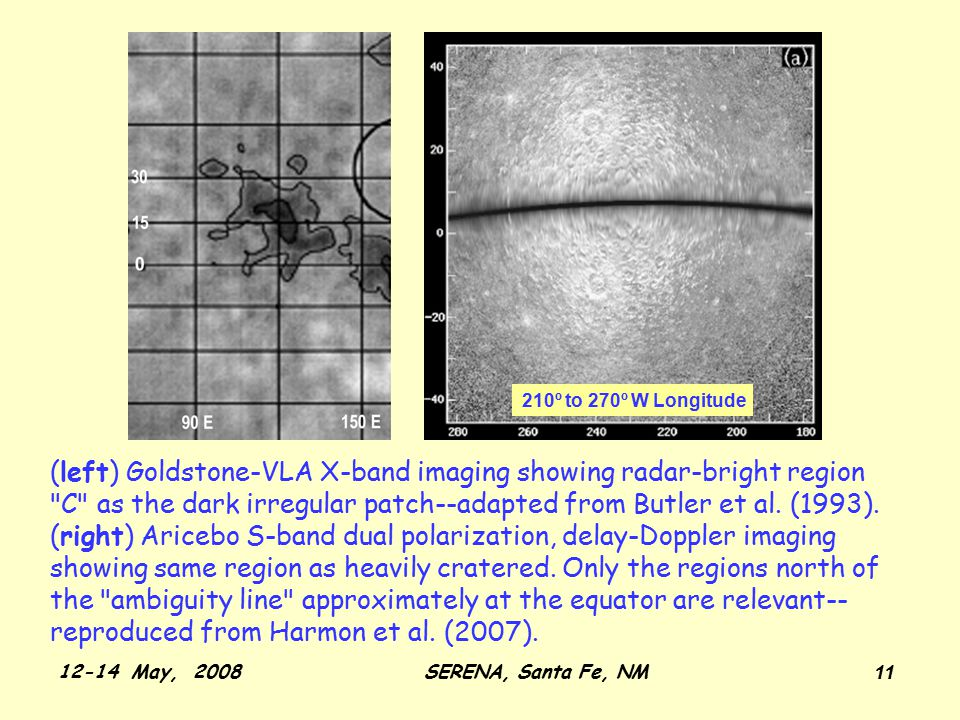 12-14 May, 2008SERENA, Santa Fe, NM 11 (left) Goldstone-VLA X-band imaging showing radar-bright region C as the dark irregular patch--adapted from Butler et al.