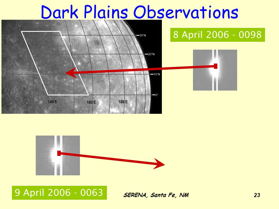 12-14 May, 2008SERENA, Santa Fe, NM 23 Dark Plains Observations 8 April 2006 - 0098 9 April 2006 - 0063