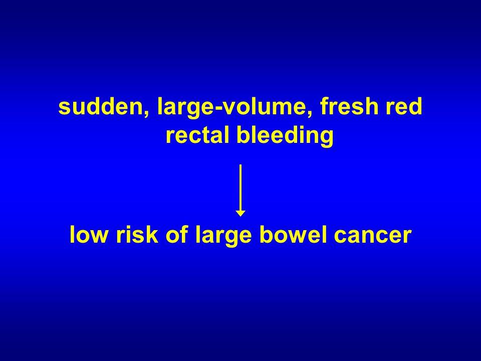 sudden, large-volume, fresh red rectal bleeding low risk of large bowel cancer